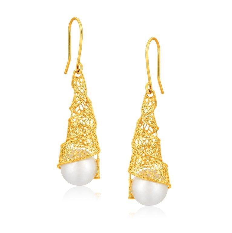 Designer 14K Yellow Gold Dangle Pearl Earrings