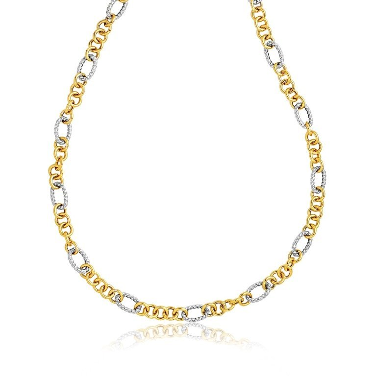 14K Two-Tone Gold Cable Style Link Necklace