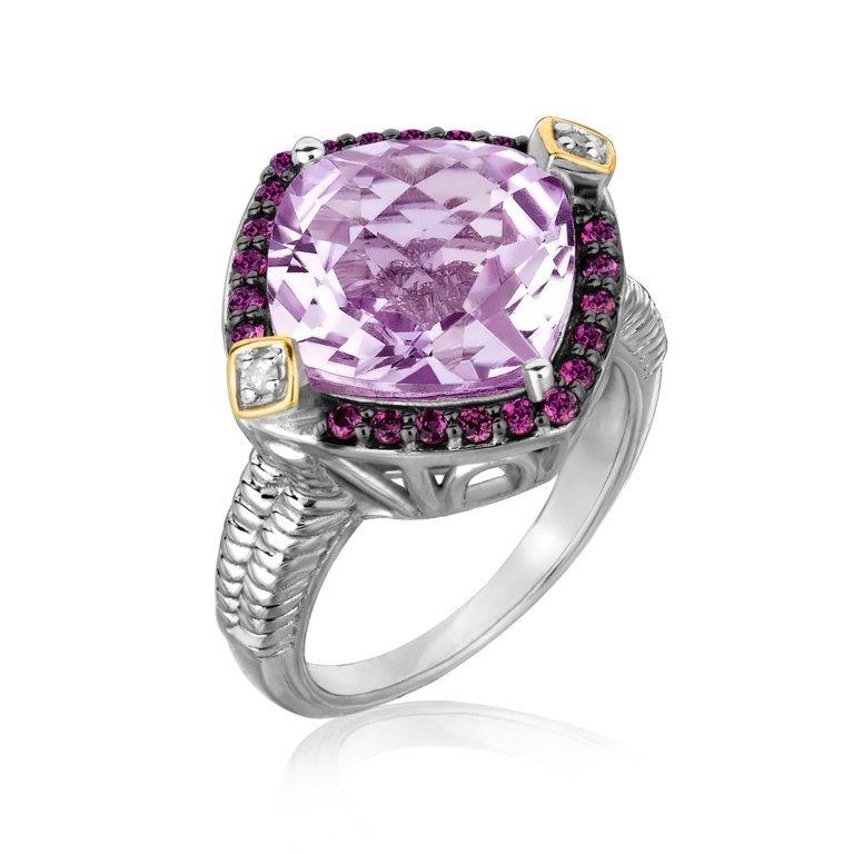 Designer 18K Gold Amethyst& Diamond Ring