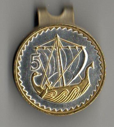 Cyprus 5Mils Gold & silver Viking Ship Golf Marker