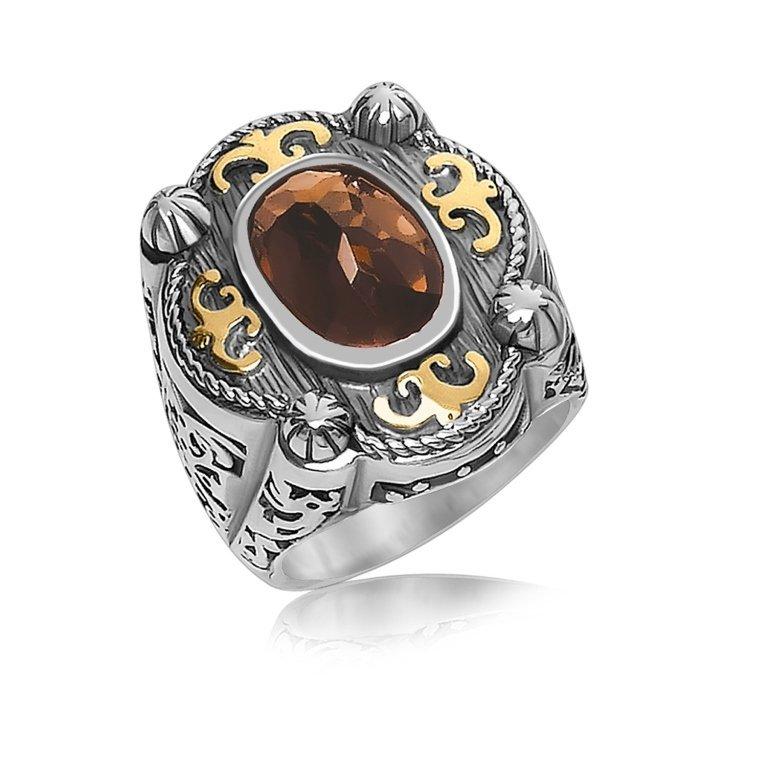 Smokey Quartz Baroque Style Ring