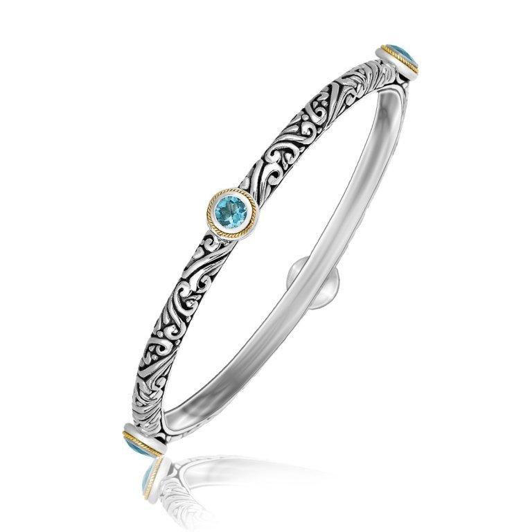 18K Gold, Silver & Blue Topaz Bangle Bracelet
