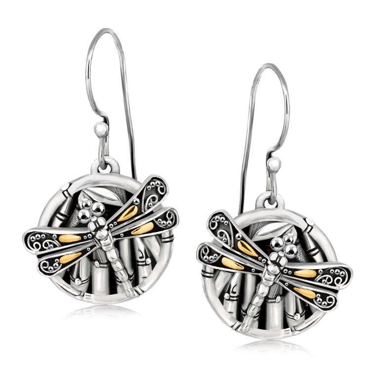 18K Gold & Silver Dragonfly Earrings