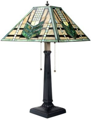 Tiffany Inspired Mission Style Stained Glass Lamp