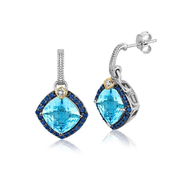 Cushion Cut Blue Topaz & Diamond Earrings