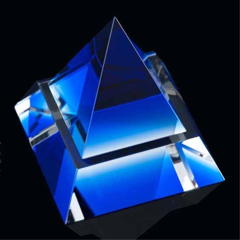 Blue Crystal Pyramid Sculpture