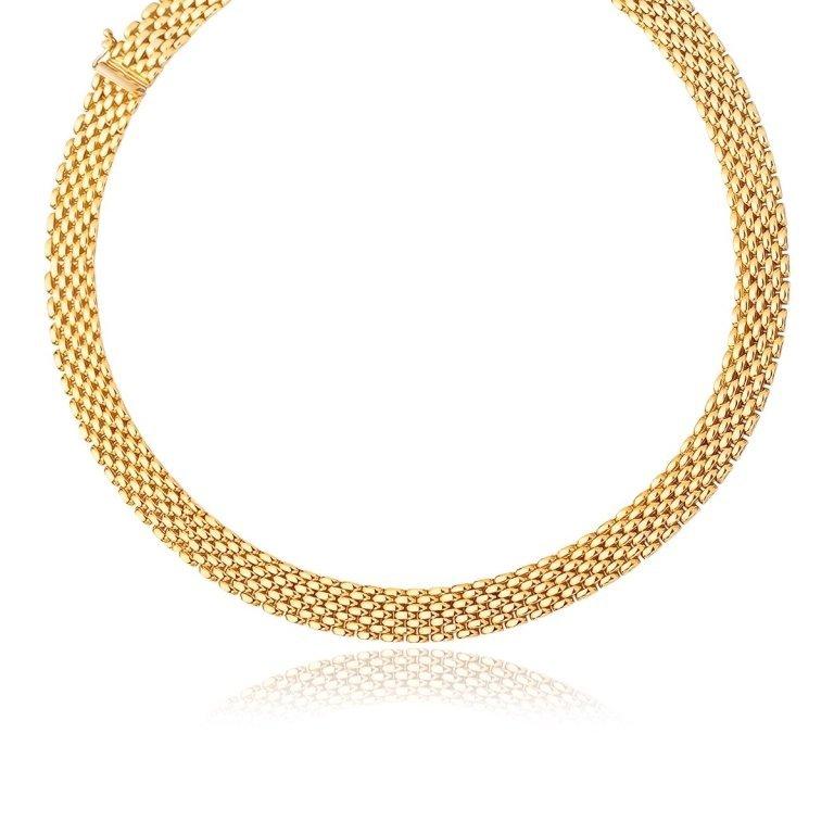 14K Yellow Gold Flexible Mesh Line Necklace