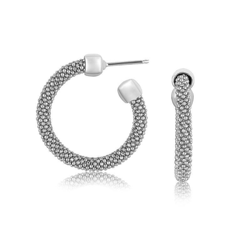 Contemporary Silver Popcorn Texture Hoop Earrings