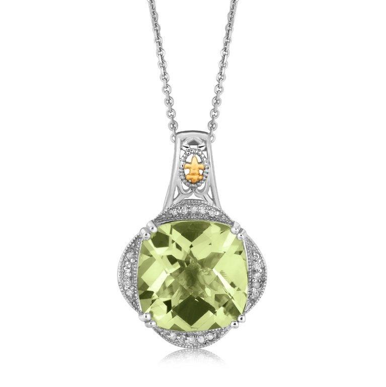 Designer Green Amethyst & Diamond Pendant