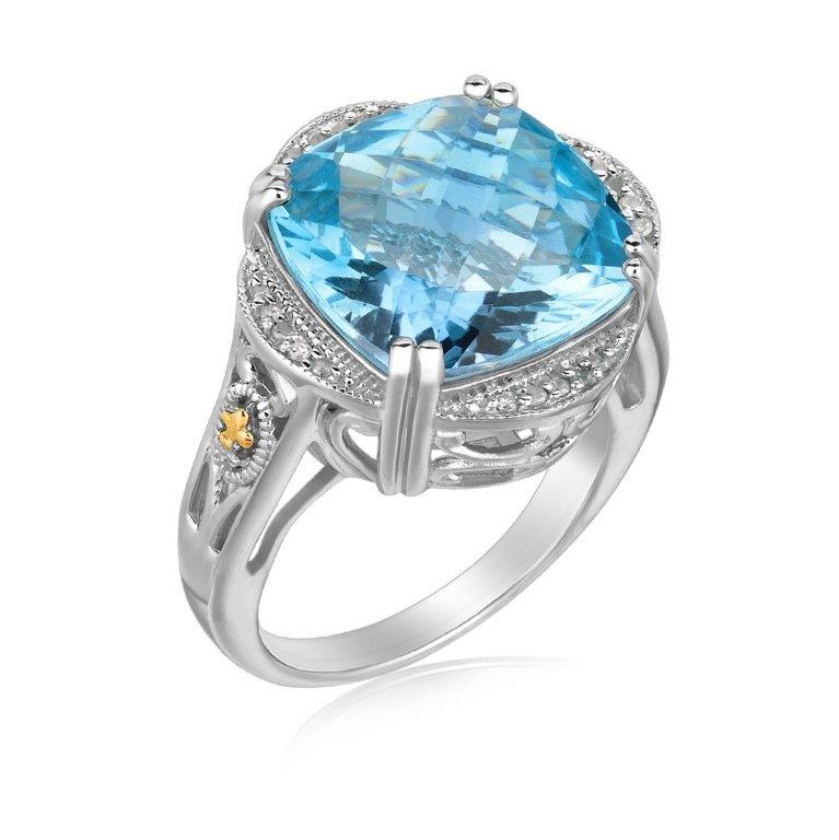 Cushion Blue Topaz & Pave Diamond Ring