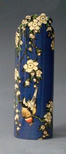 Hokusai Inspired Bird & Flowers Vase