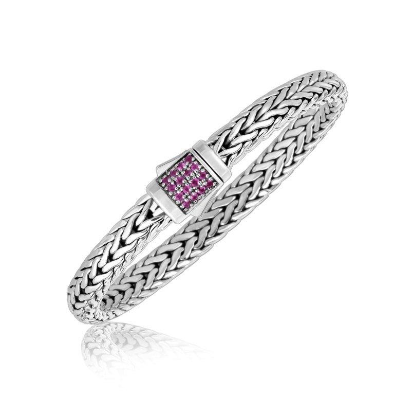 Silver Braided Pink Sapphire Men's Bracelet