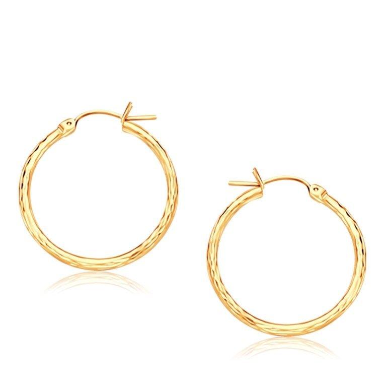14K Gold Diamond Cut Hoop Earrings (25mm)