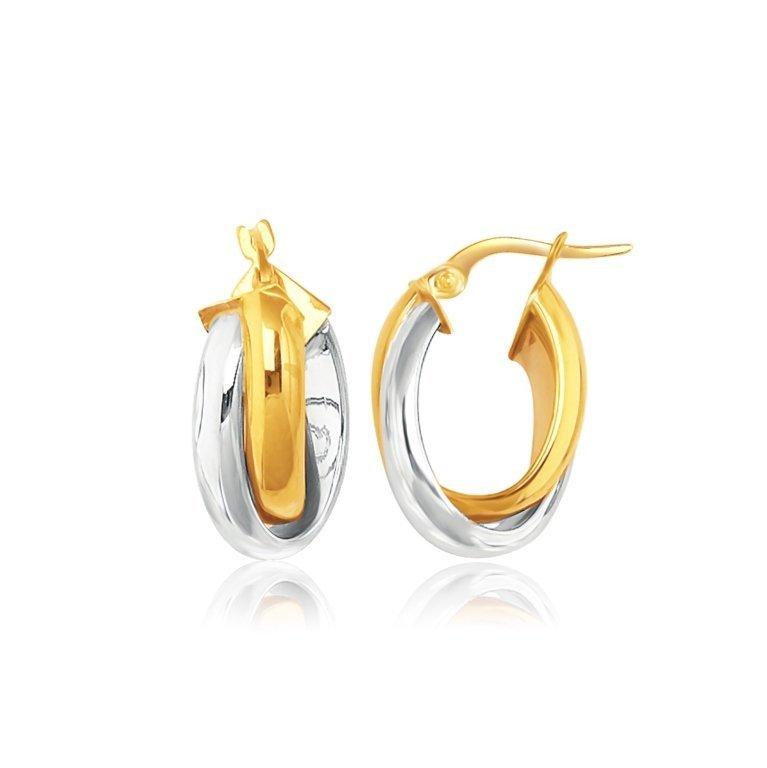 14K Two-Tone Gold Intertwined Oval Hoop Earrings
