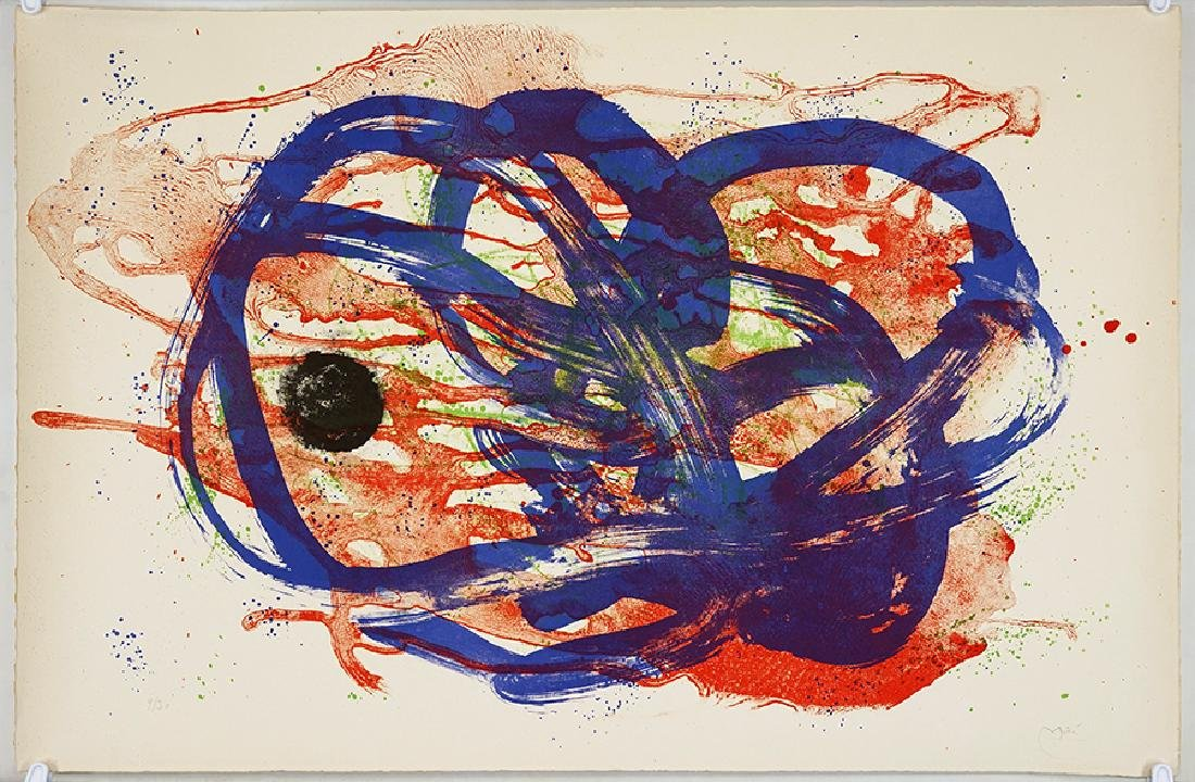 Joan Miro (Spanish, 1893-1983) Serie I, Bleu Sur Lavis