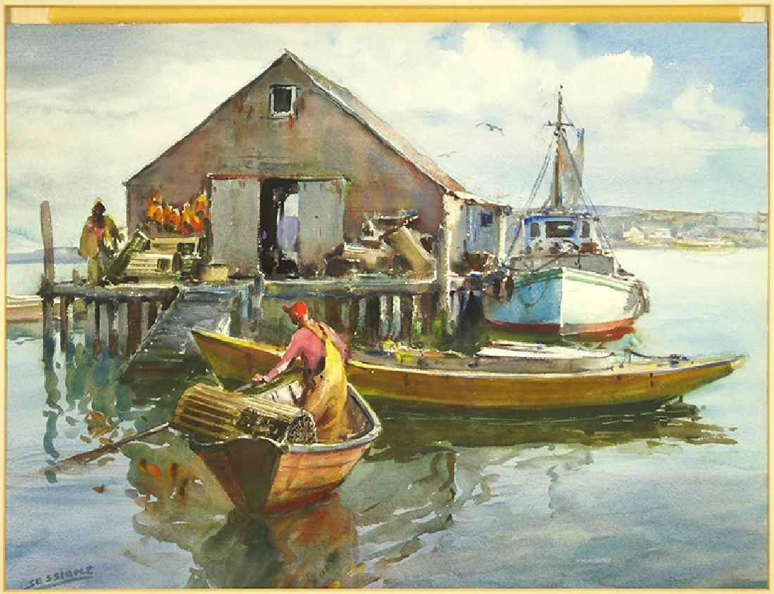 James Sessions (American, 1882-1962) Fishermen at Dock.