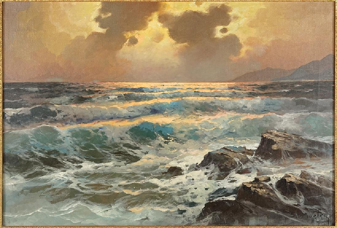 Alexander Dzigurski (American, 1911-1995) Waves at