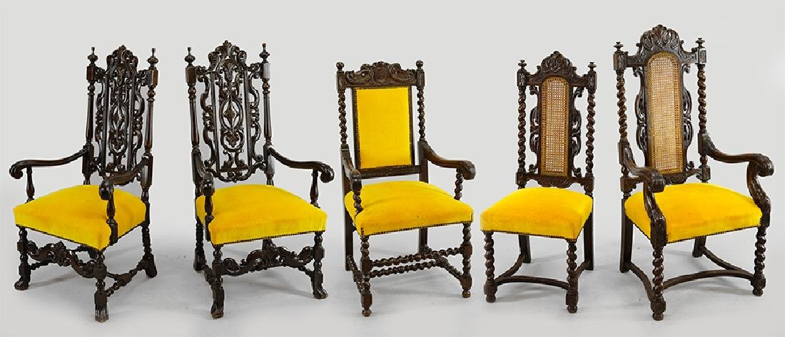Eight William and Mary Style Chairs.
