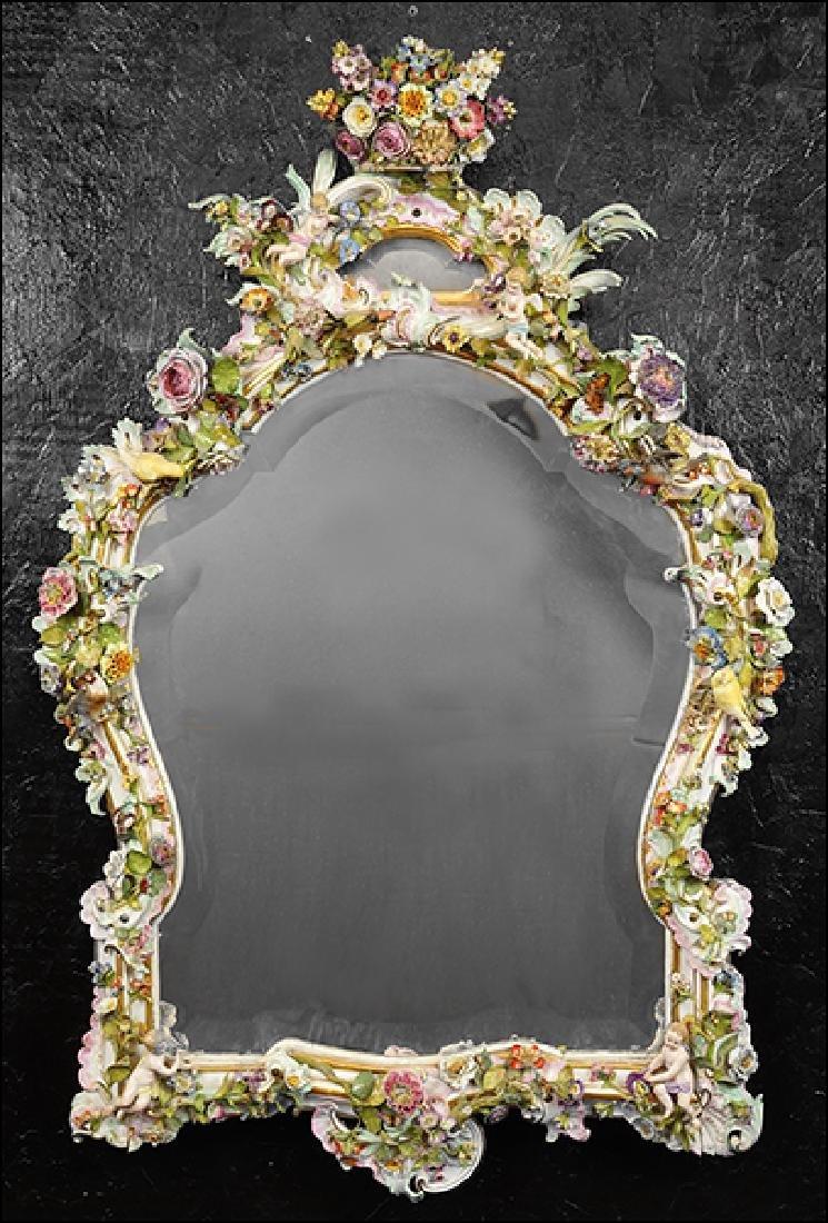 A 19th Century Meissen Porcelain Wall Mirror.