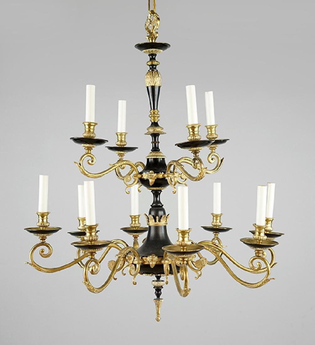 A Regency Style 12-Light Chandelier.