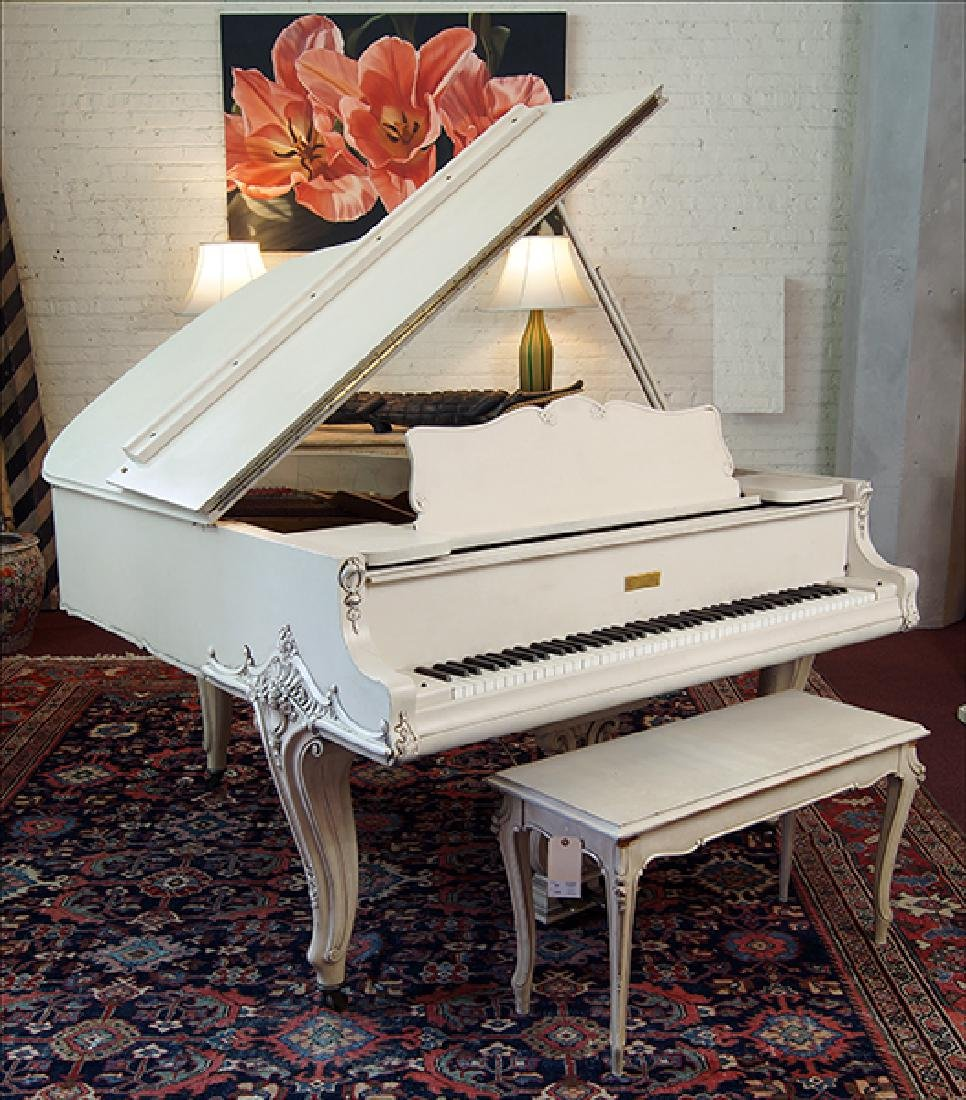 A Wm. Knabe and Co. Whitewashed Grand Piano.