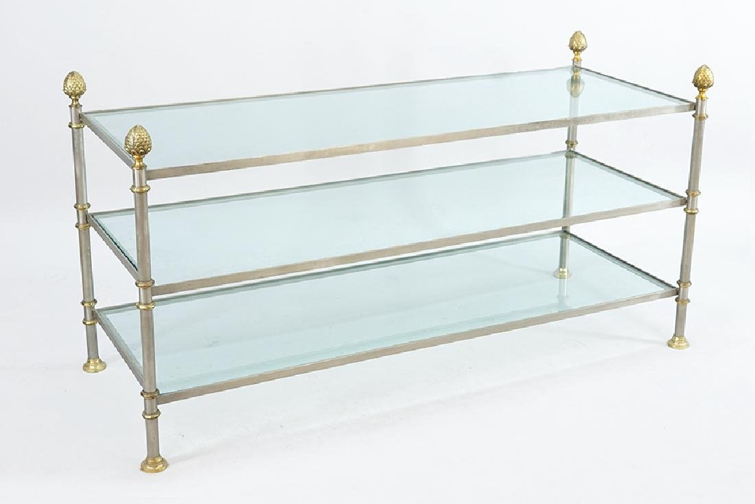 A Steel and Brass Three-Tier Table.