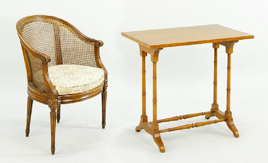 A French Style Rattan Armchair.