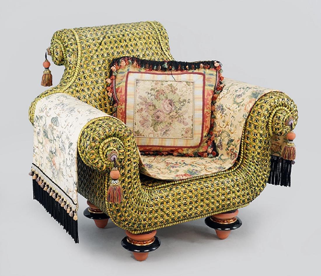 A Mackenzie Childs Woven Rattan Chair.