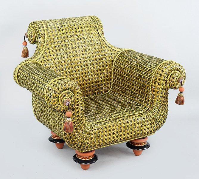 A Mackenzie Childs Woven Rattan Chair. - 2