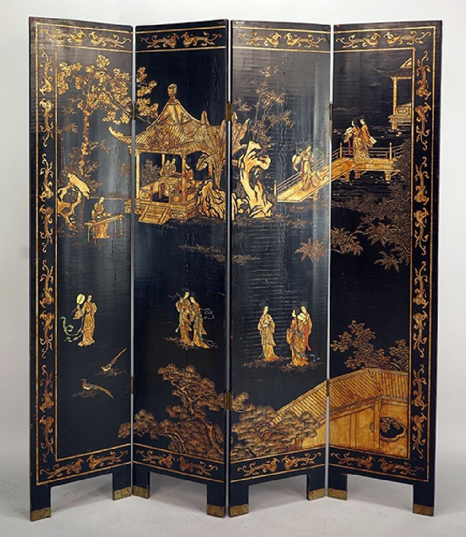A Chinese Coromandel Four-Panel Screen.