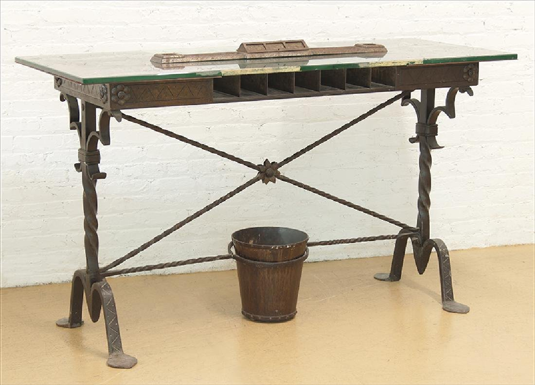 A Samuel Yellin Bank Table.