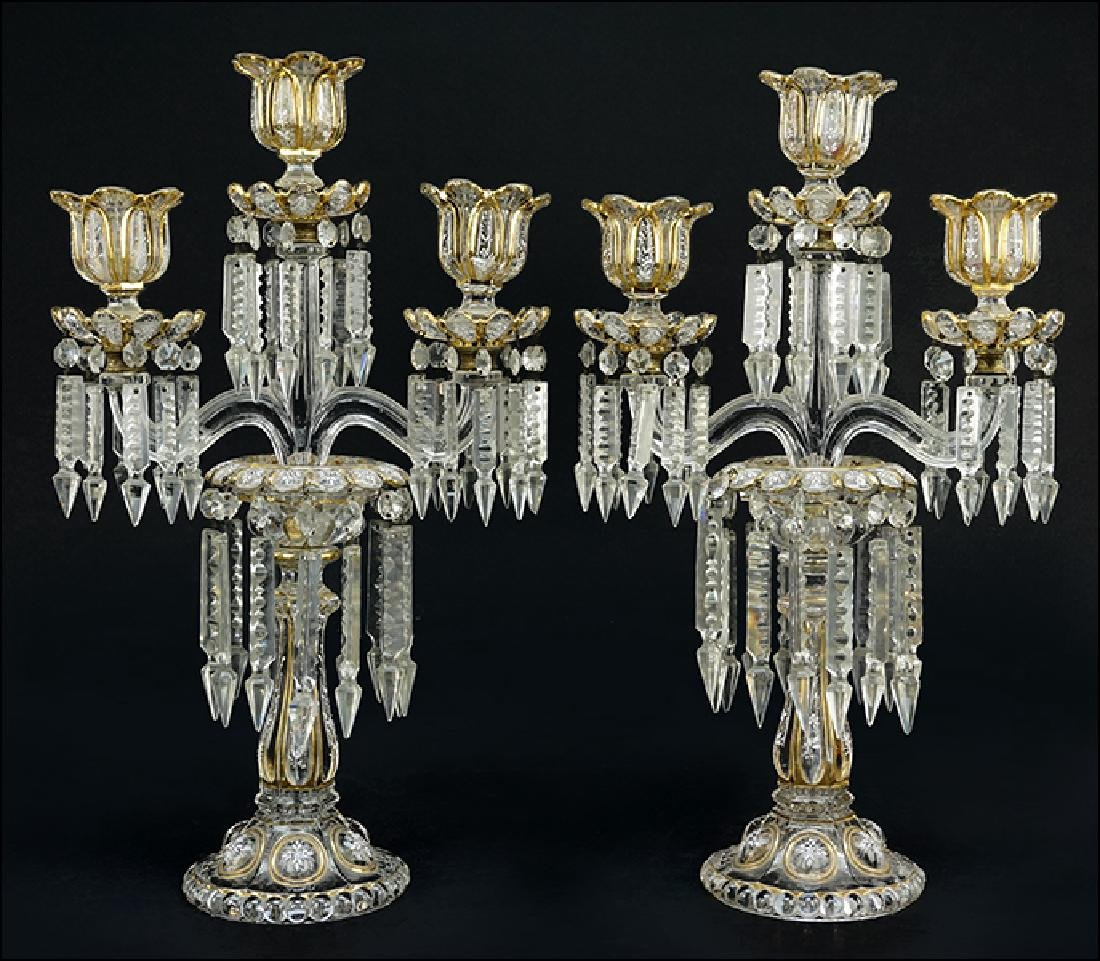 A Pair of Baccarat Candelabra.