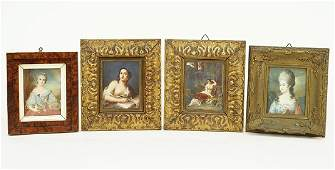A Group of Four Continental Portrait Miniatures.