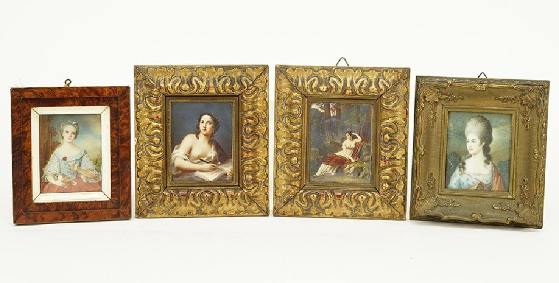 A Group of Four Continental Portrait Miniatures.