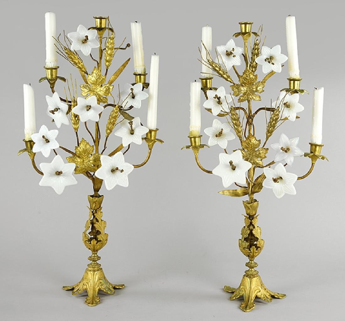 A Pair of Gilt Metal Five-Light Candelabra.