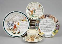 A Set of Ten French Sarreguemines Plates.