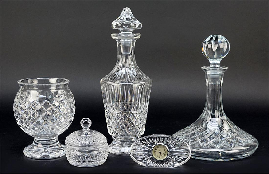 A Waterford Crystal Decanter in the Maeve Pattern.