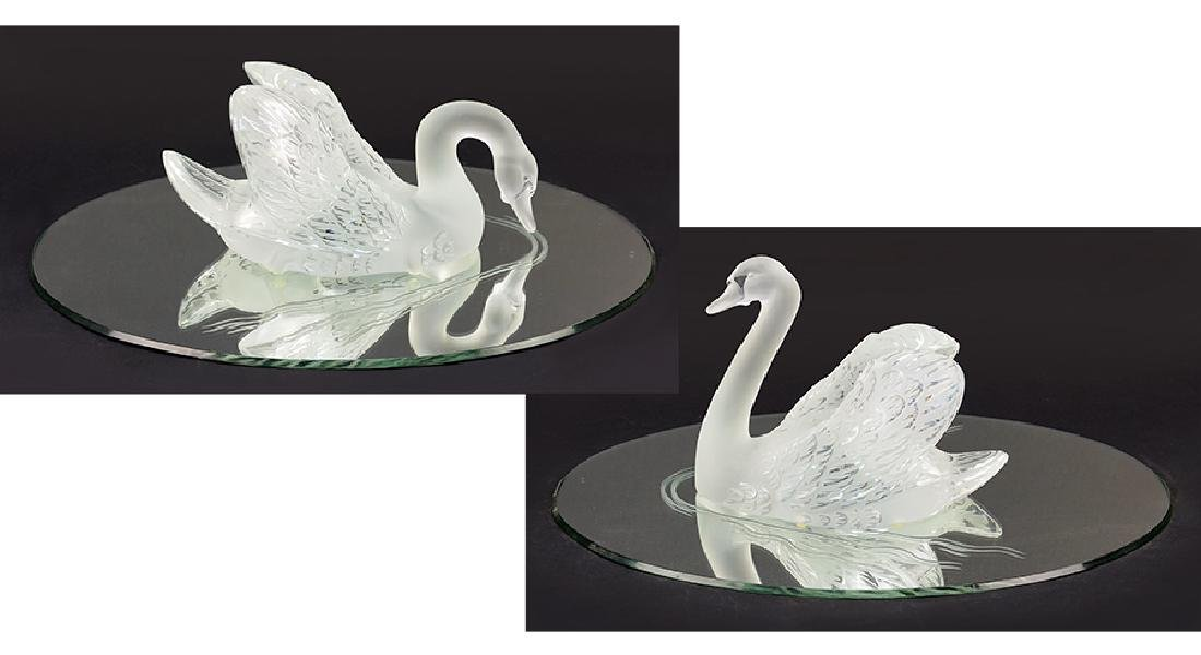 Two Lalique Swans.