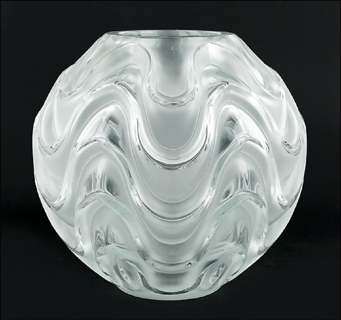 A Lalique Frosted and Clear Crystal Vase.