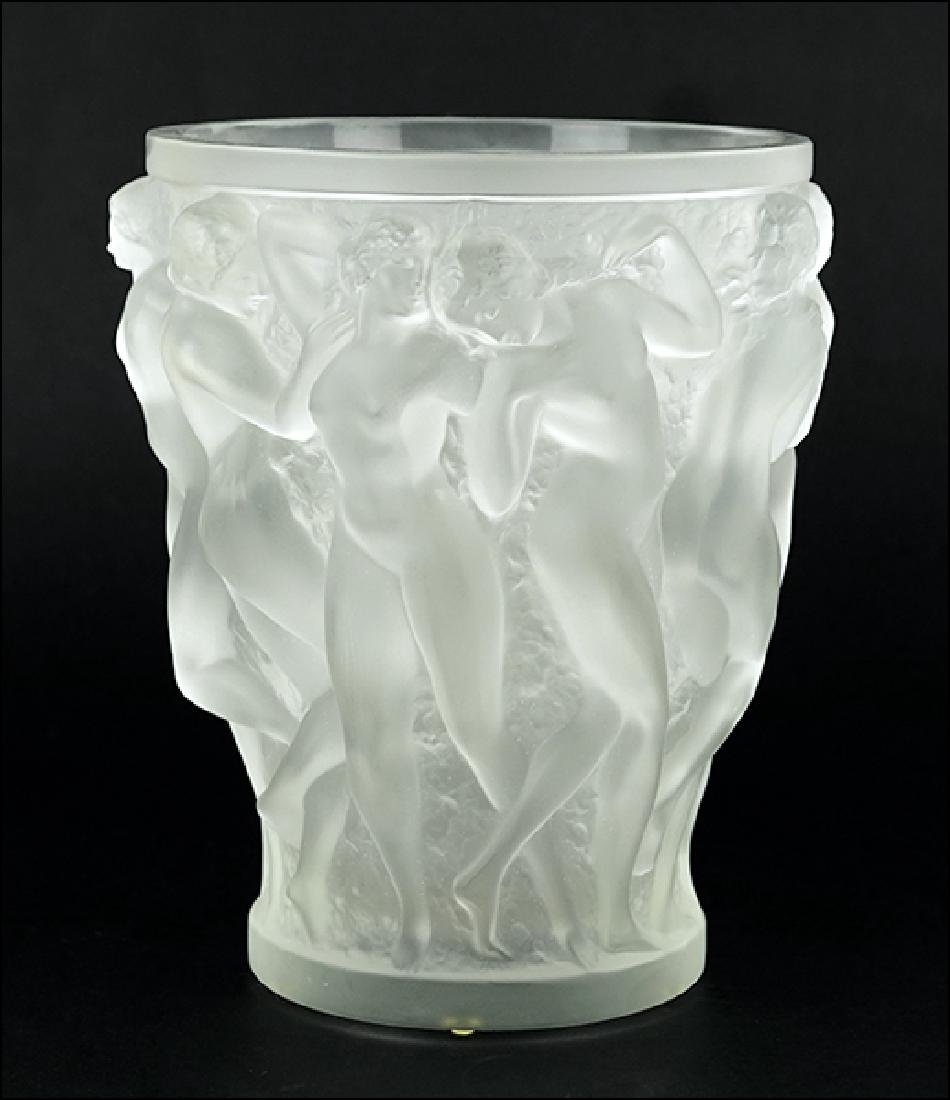 A Lalique Frosted Crystal Vase.