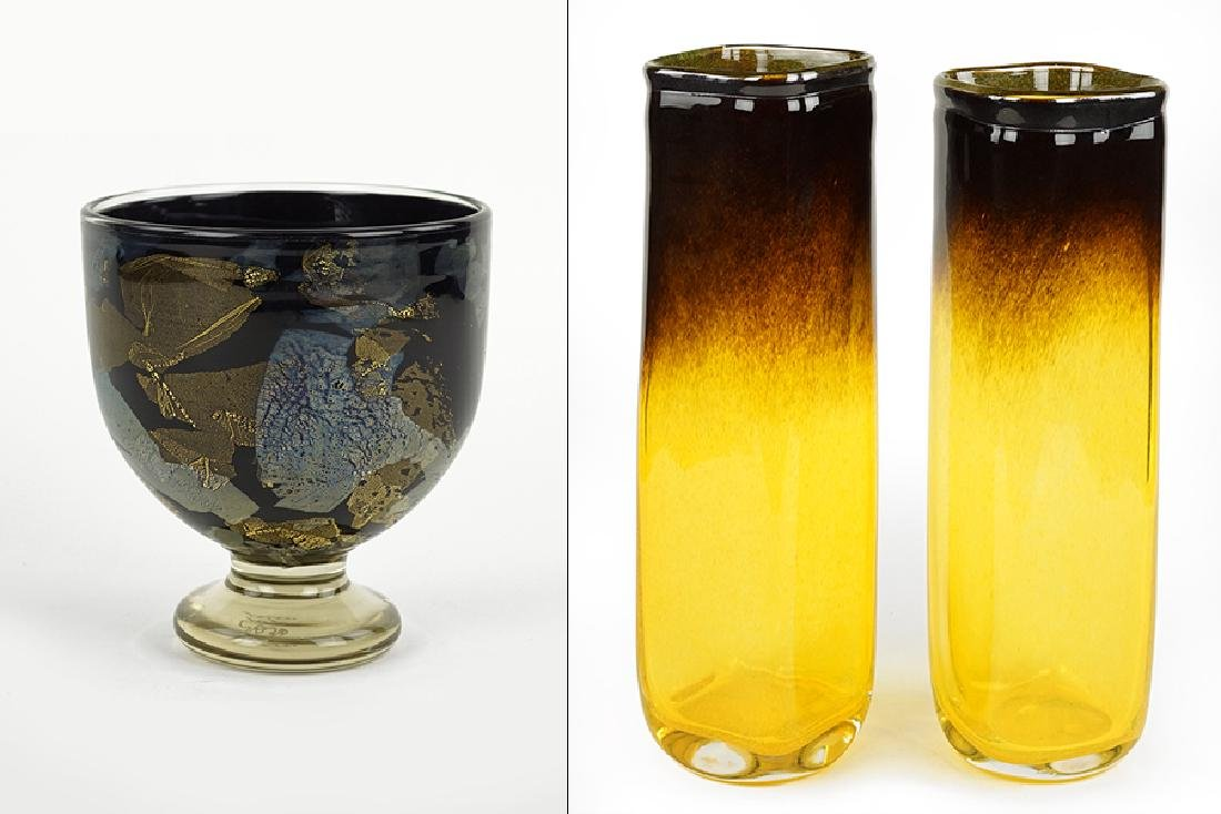 A Pair of Contemporary Glass Vases.