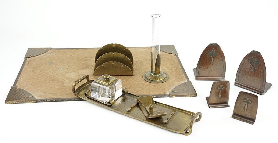 A Roycroft Hammered Brass Desk Set.