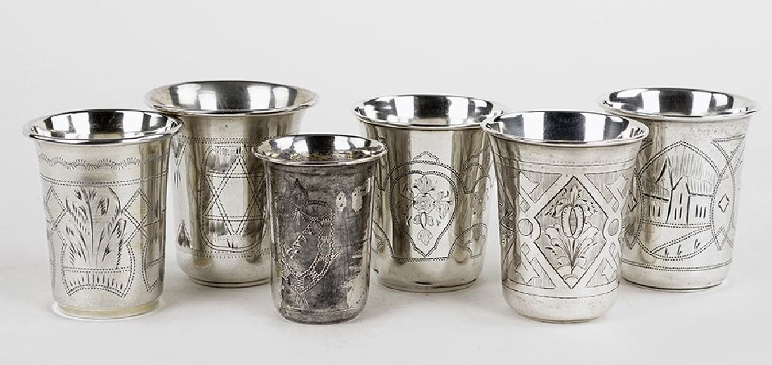 Six Russian .84 Silver Kiddush Cups.