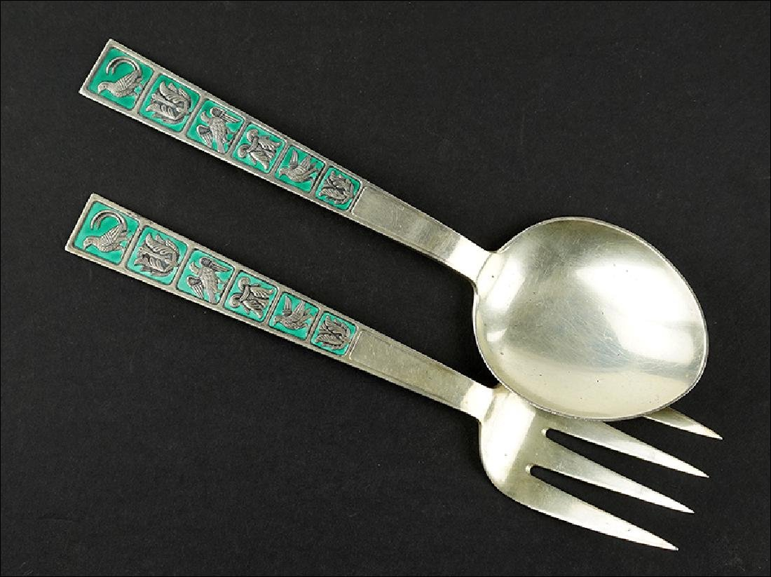 A David Andersen Sterling Silver Two-Piece Serving Set.