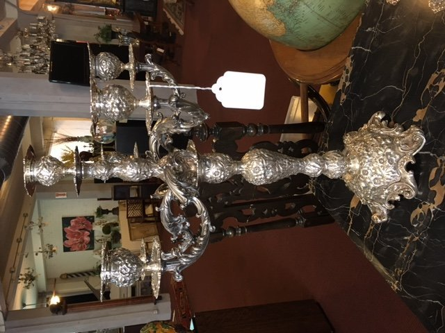 A Pair of Six-Light Sterling Silver Candelabra. - 6