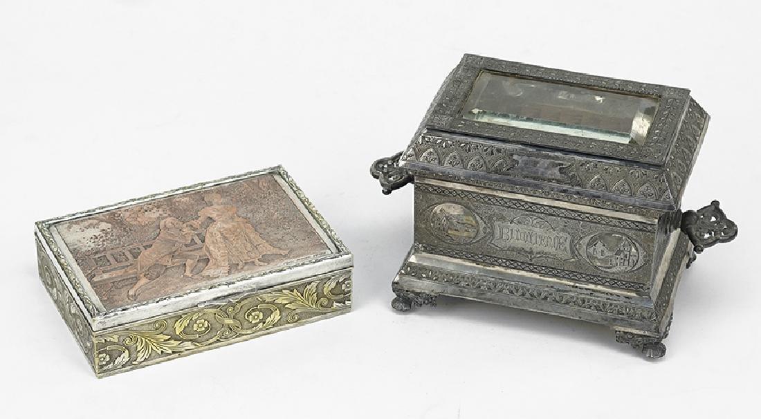 A Victorian Silverplate Jewelry Casket.
