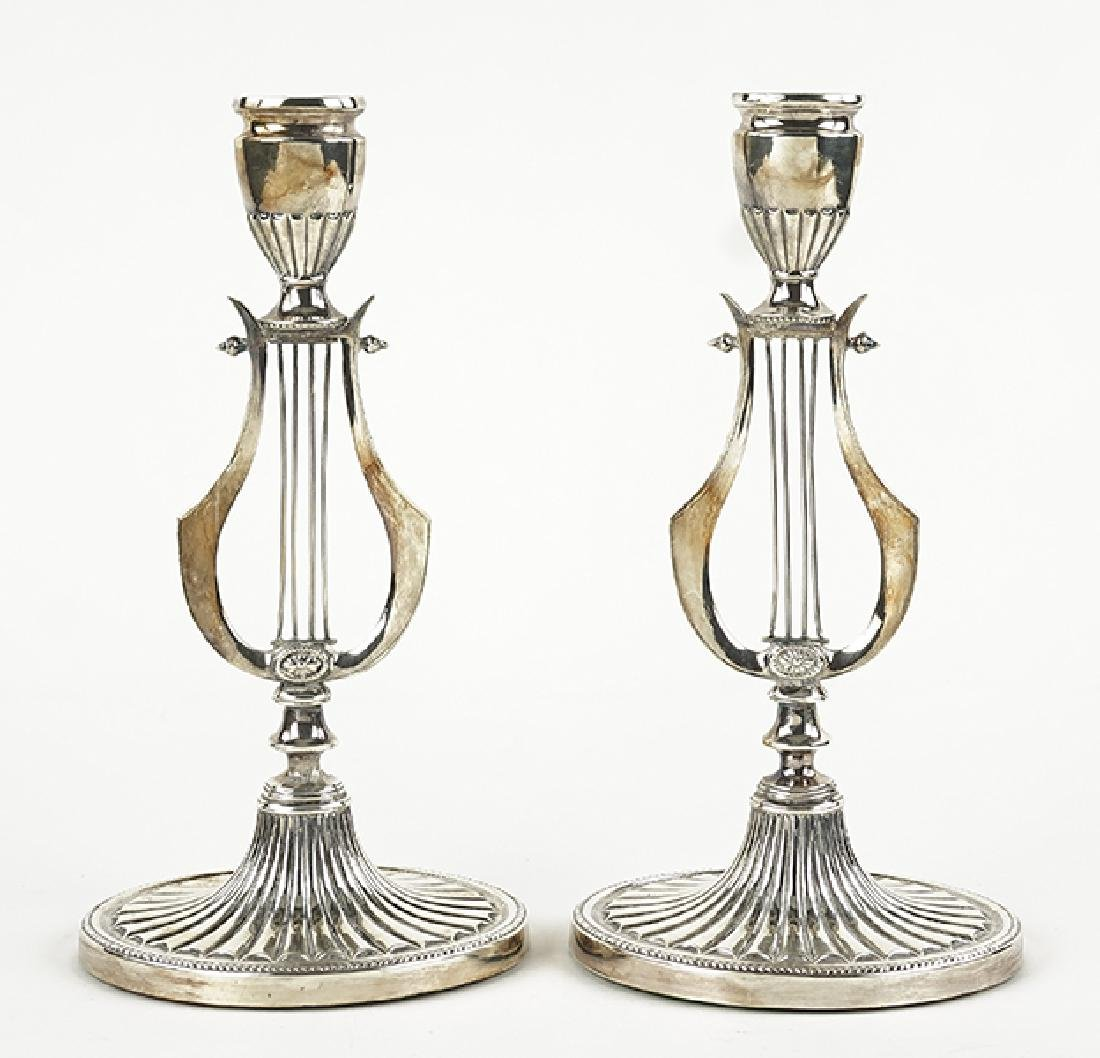 A Pair of English Sheffield Silverplate Candlesticks.