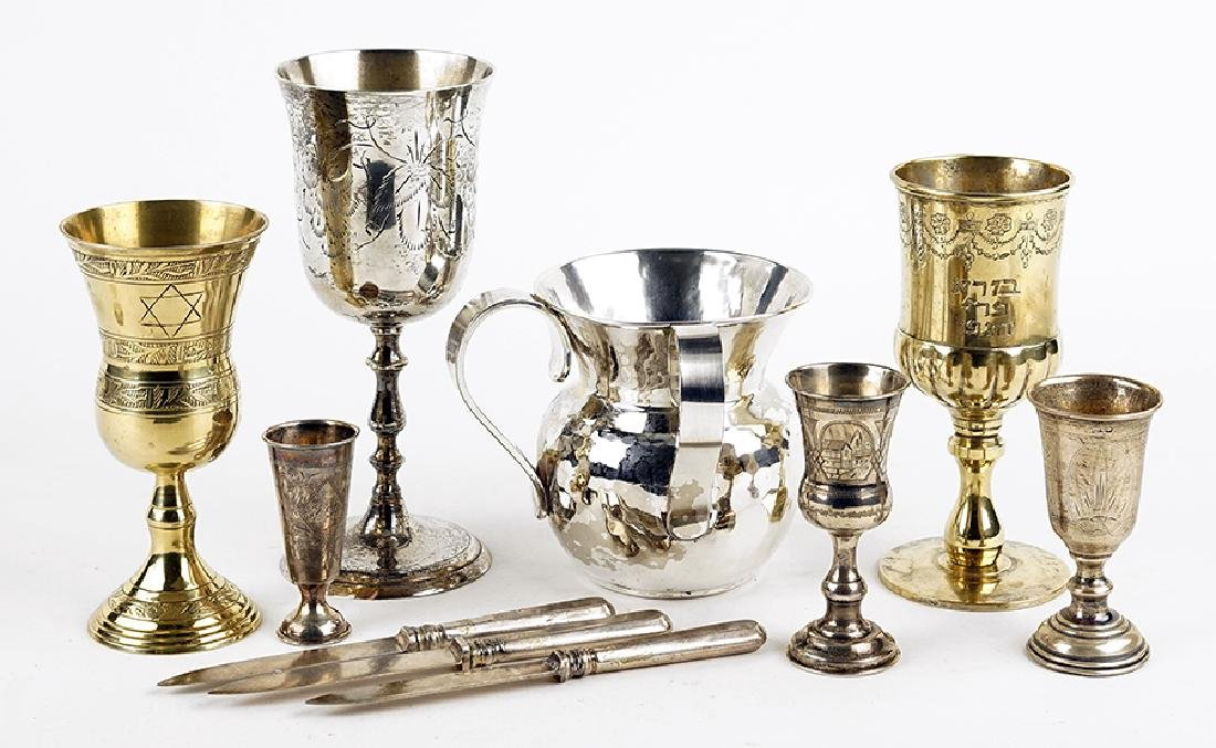 Three Russian .84 Silver Footed Kiddush Cups.
