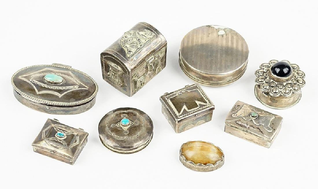 A Collection of Silver Boxes.