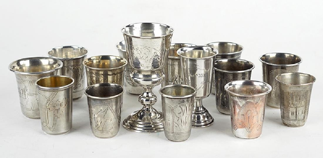 A Collection of .84 Russian Silver Cups.